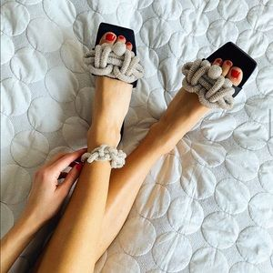 H&M Black Satin Square toe beaded Sliders